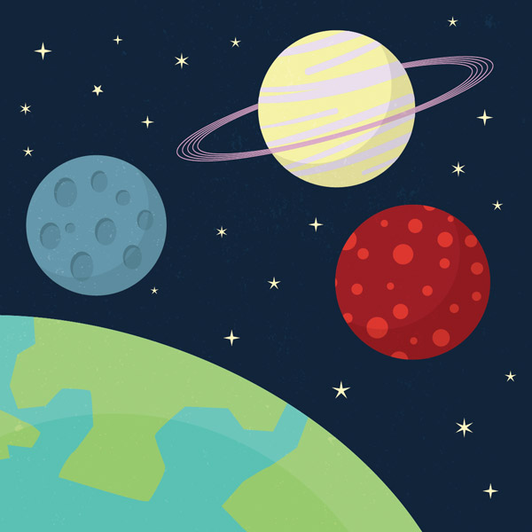 14 Space Cartoons Vector Images