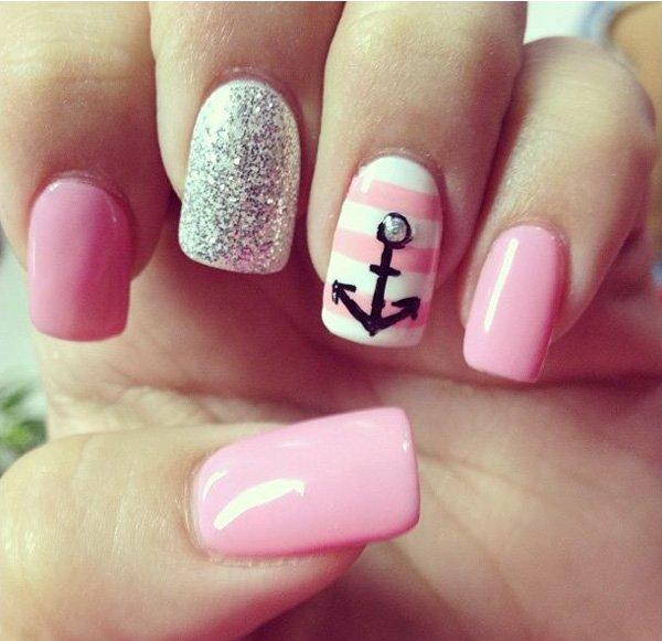 Cute Anchor Nail Design