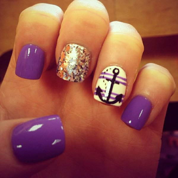 Cute Nail Designs with Anchors