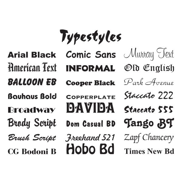 12 Type Styles Fonts Images