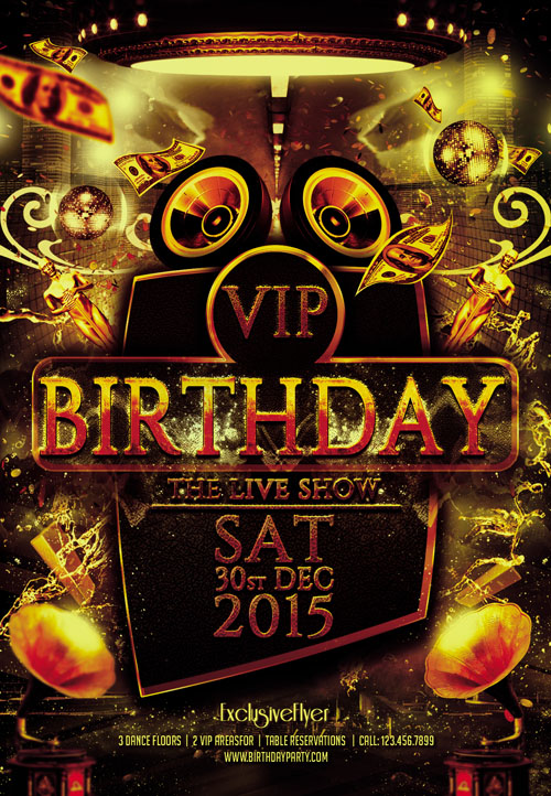 9 Vip Birthday Party Flyer Psd Template Images Birthday Party