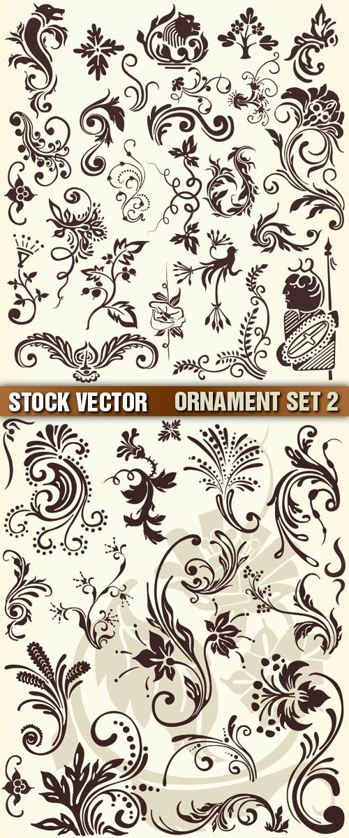 6 Vector Victorian Shell Ornaments Images