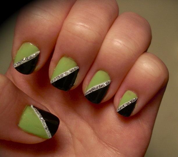 Green and Black Nail Art Designs
