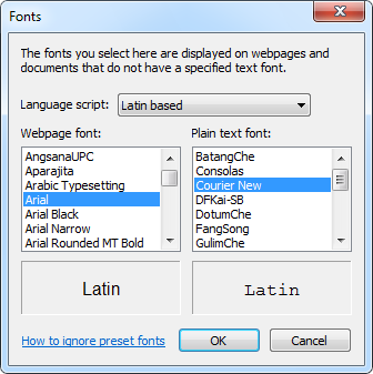Internet Explorer Fonts