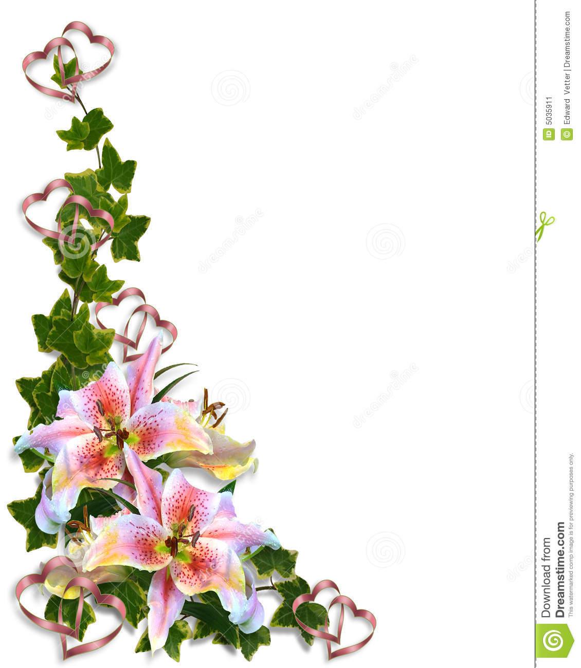 Lily Flower Corner Borders