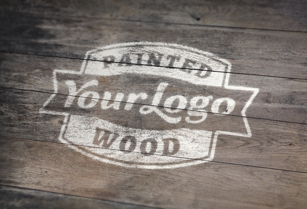 Logo Painted On Wood Mockup