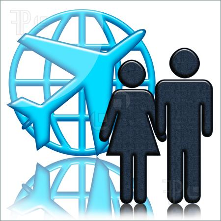 People and Airplane Clip Art