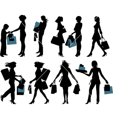 16 Free Vector People Shopping Images