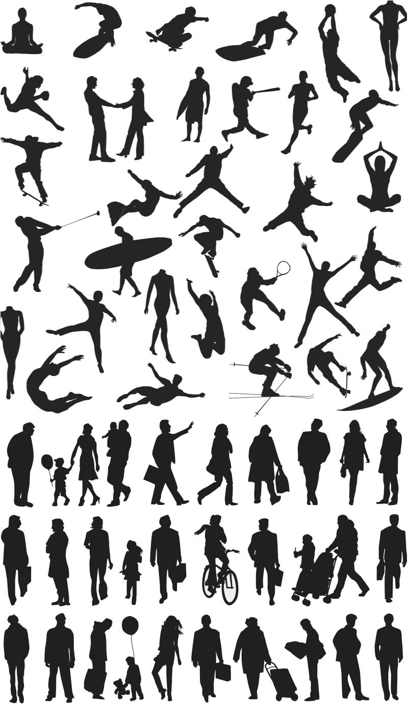 People Silhouette Vector Clip Art