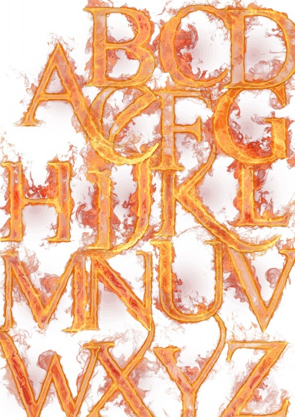 Photoshop Fire Alphabet Letters