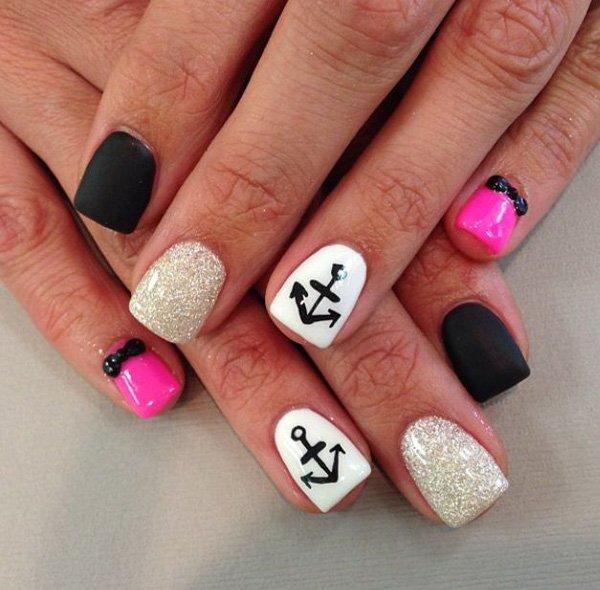 Pink Anchor Nail Art