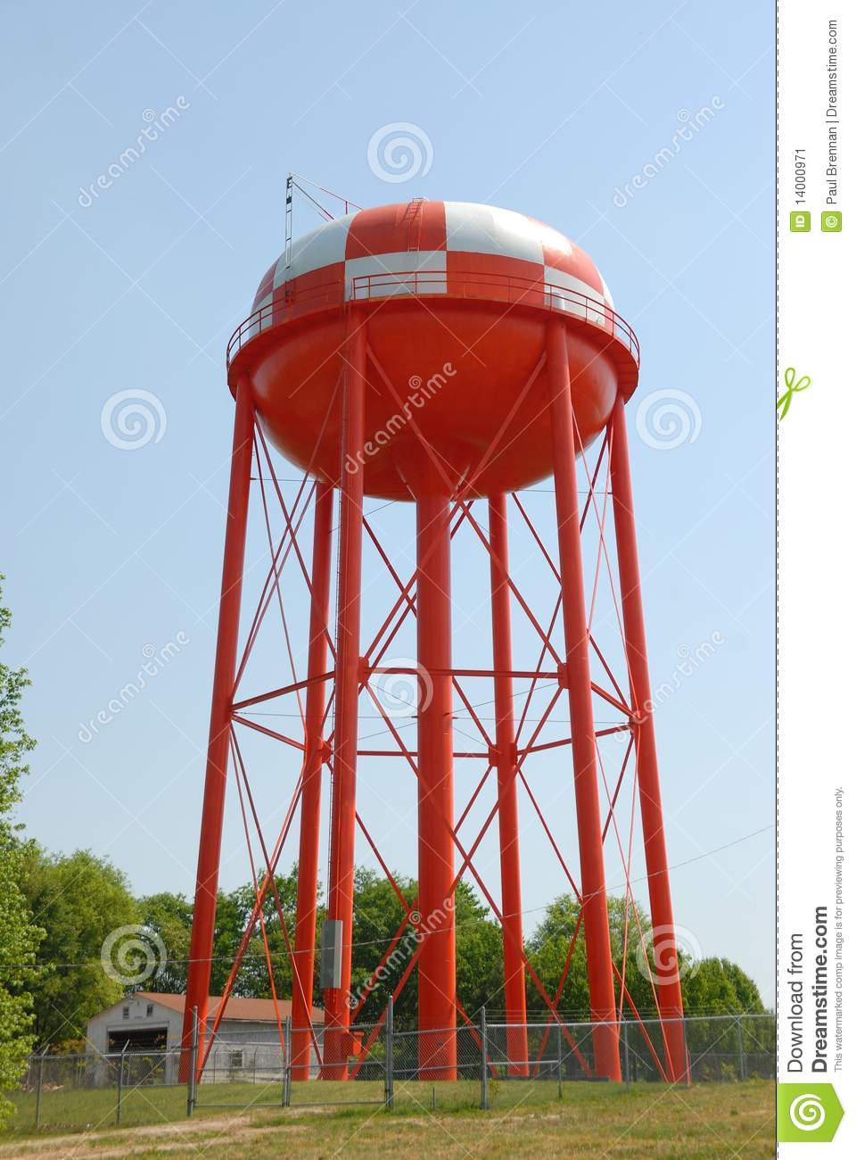 Red and White Water Tower