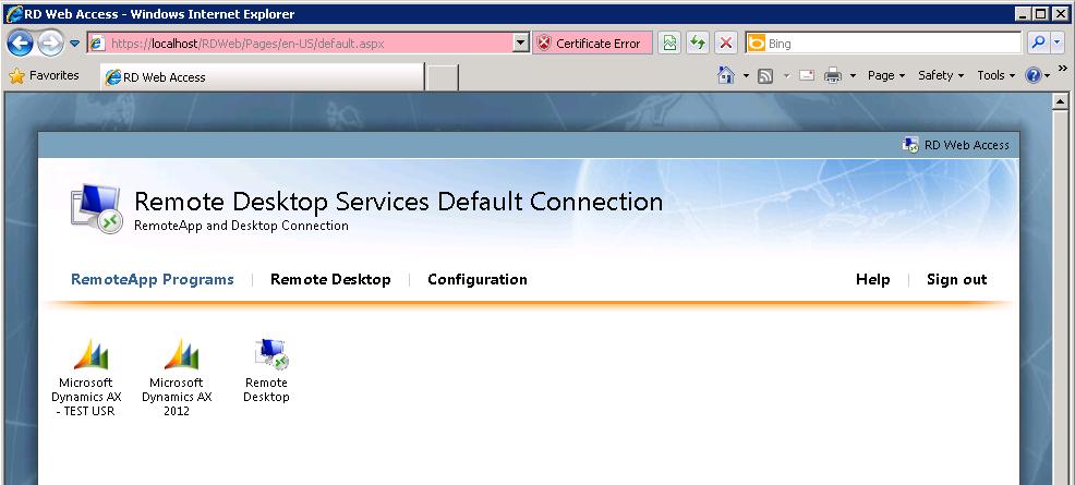 Remote Desktop Web Access 2012
