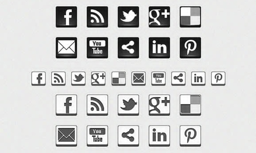 16 Black And White Icons 3D Images