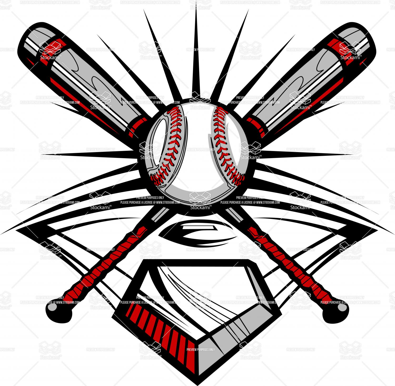 Softball Crossed Bats Clip Art
