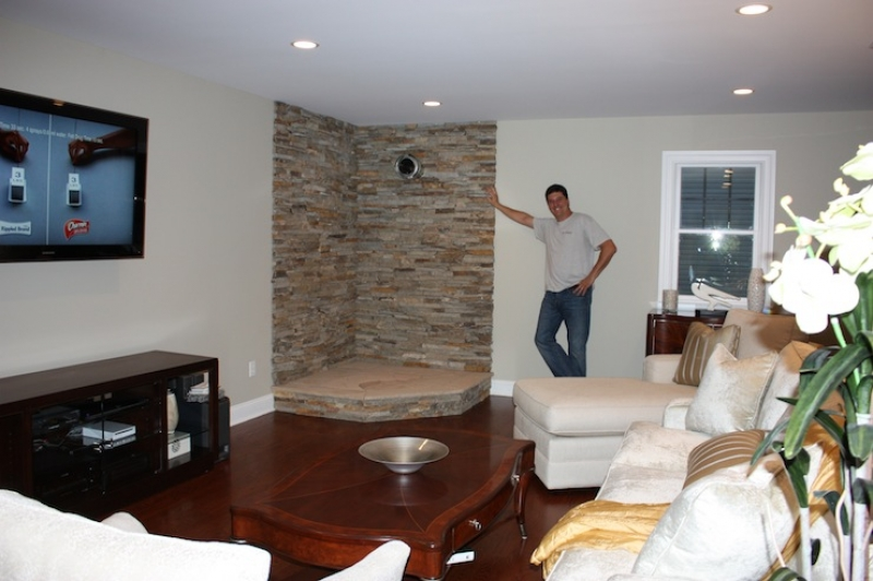 15 Living Room Stone Wall Design Images - Hall, Stone Wall ...