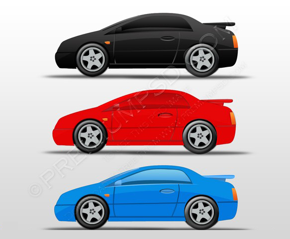 10 Blue Car PSD Images
