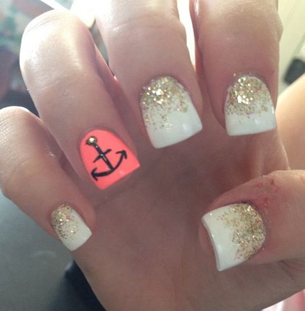 White Nail Designs with Anchor