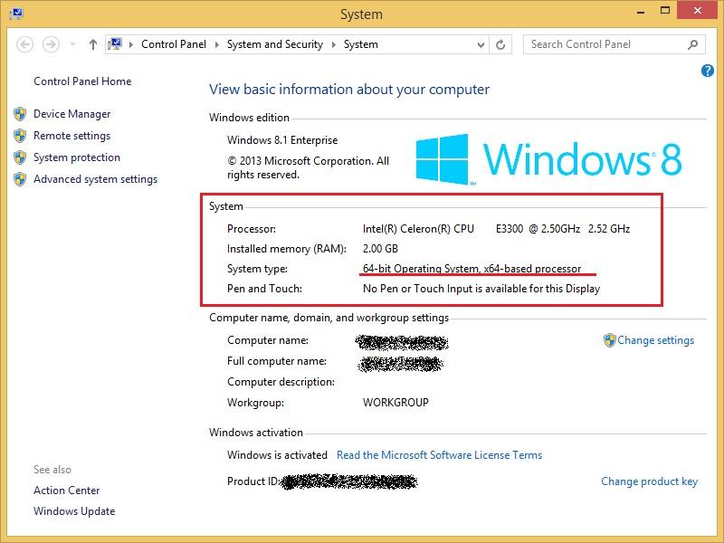 Windows 8.1 System Properties