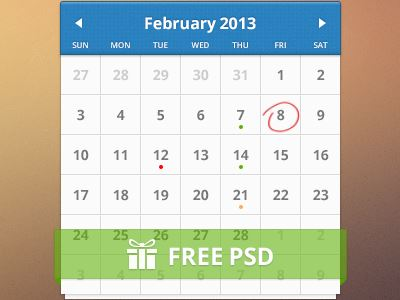 11 Photoshop PSD Calendar Images