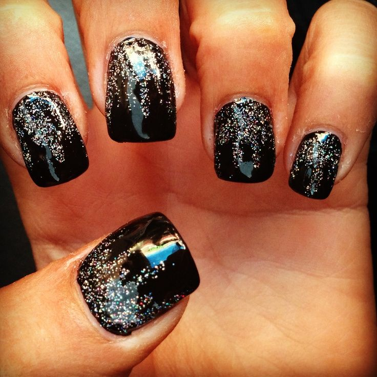 15 Cute Black Prom Nail Designs Images - Pink Glitter Nails, Black ...