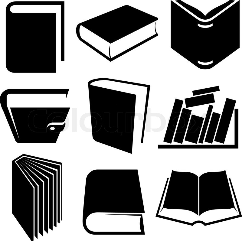 14 Black And White Icons Book Images