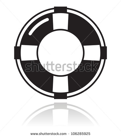 Black and White Life Saver Vector