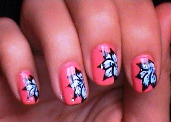 Black Nails with Flower Design