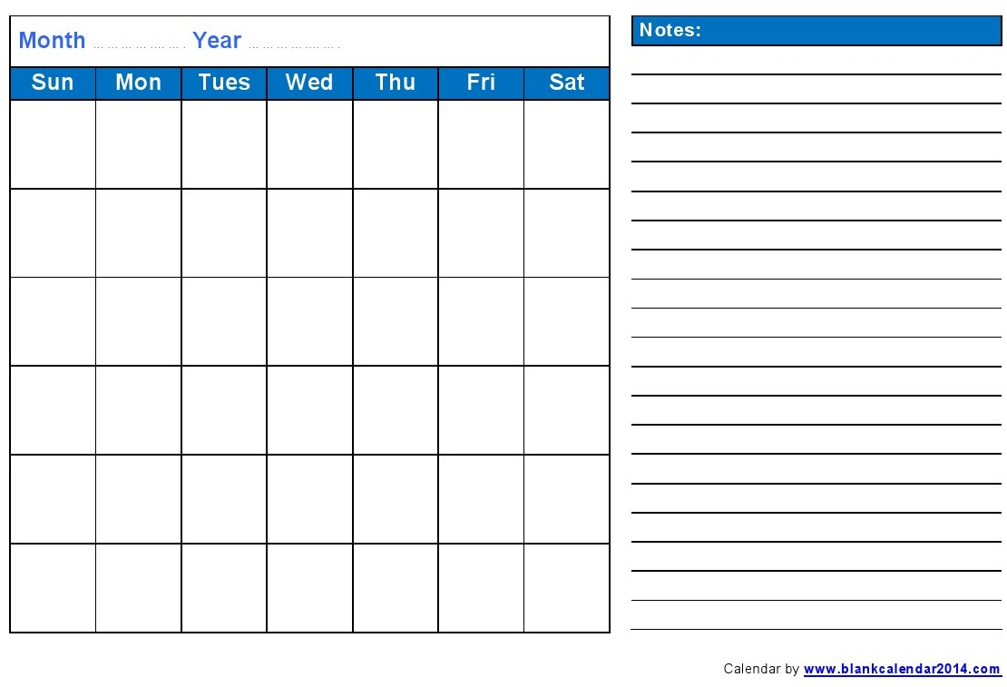 Blank Monthly Calendar Printable