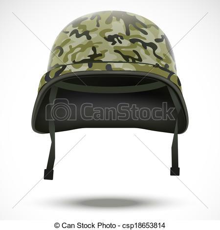 Camo Military Helmet Clip Art