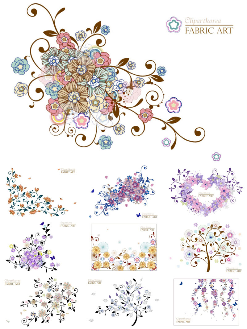 9 Decorative Floral Elements Vector Free Images