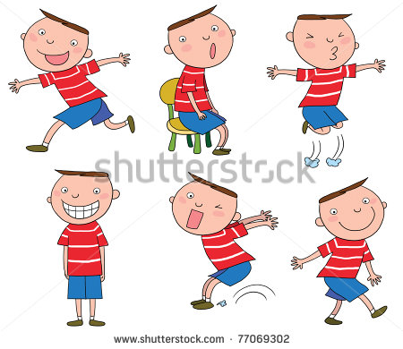 Different Action Cartoon Boy