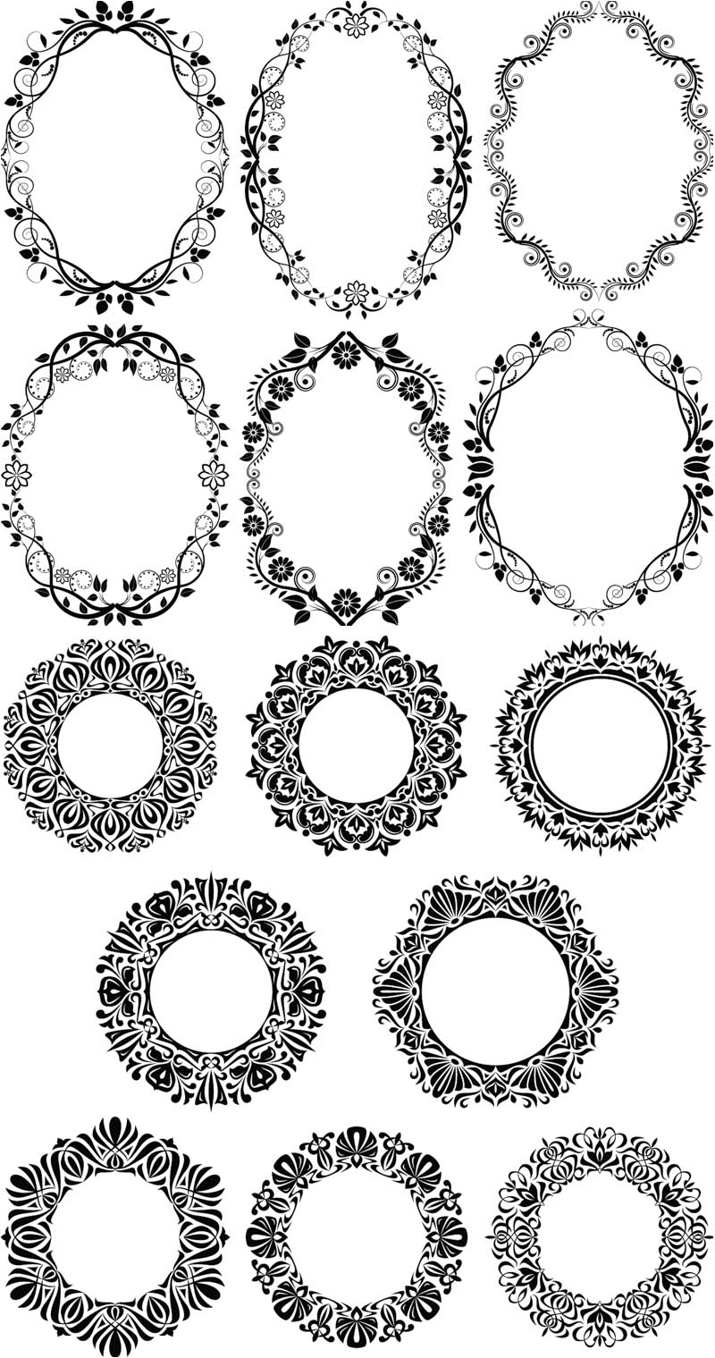 7 Round Decorative Frame Vector Images