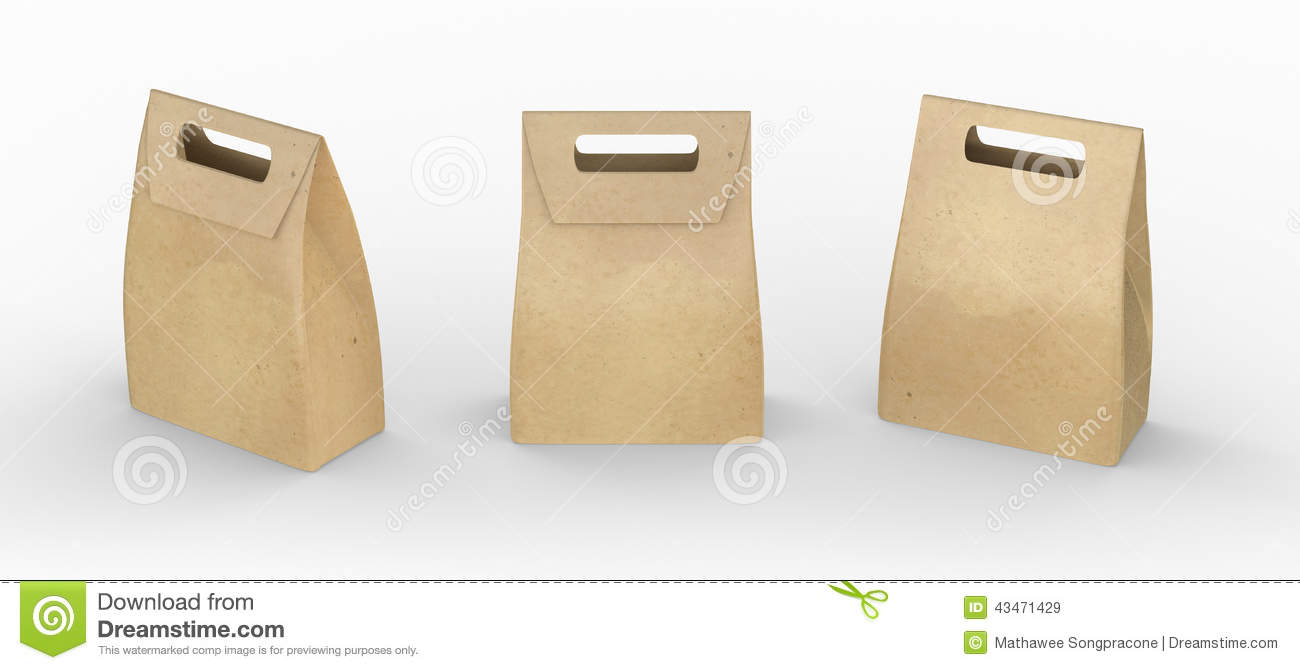 Folded Paper Bag with Handles