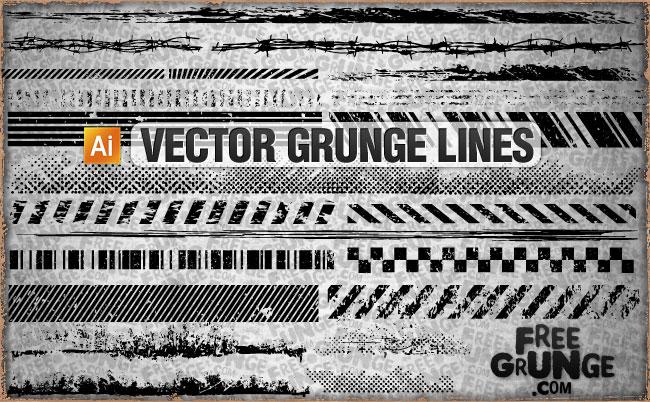 12 Grunge Line Vector Images