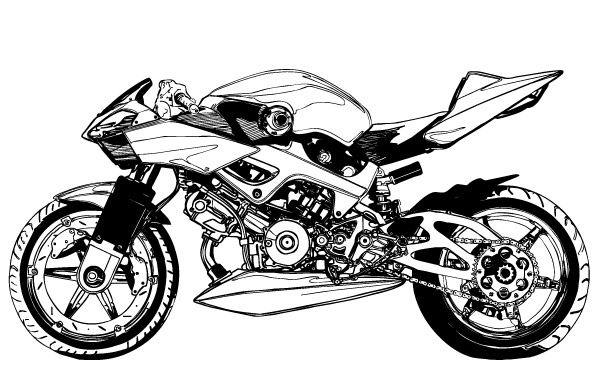 Free Motorcycle Clip Art Black and White