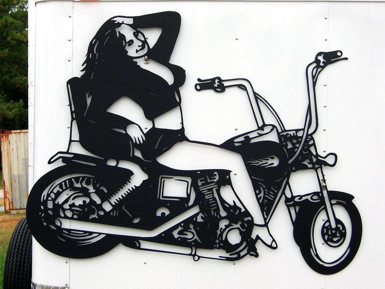 Girl Motorcycle Biker Clip Art