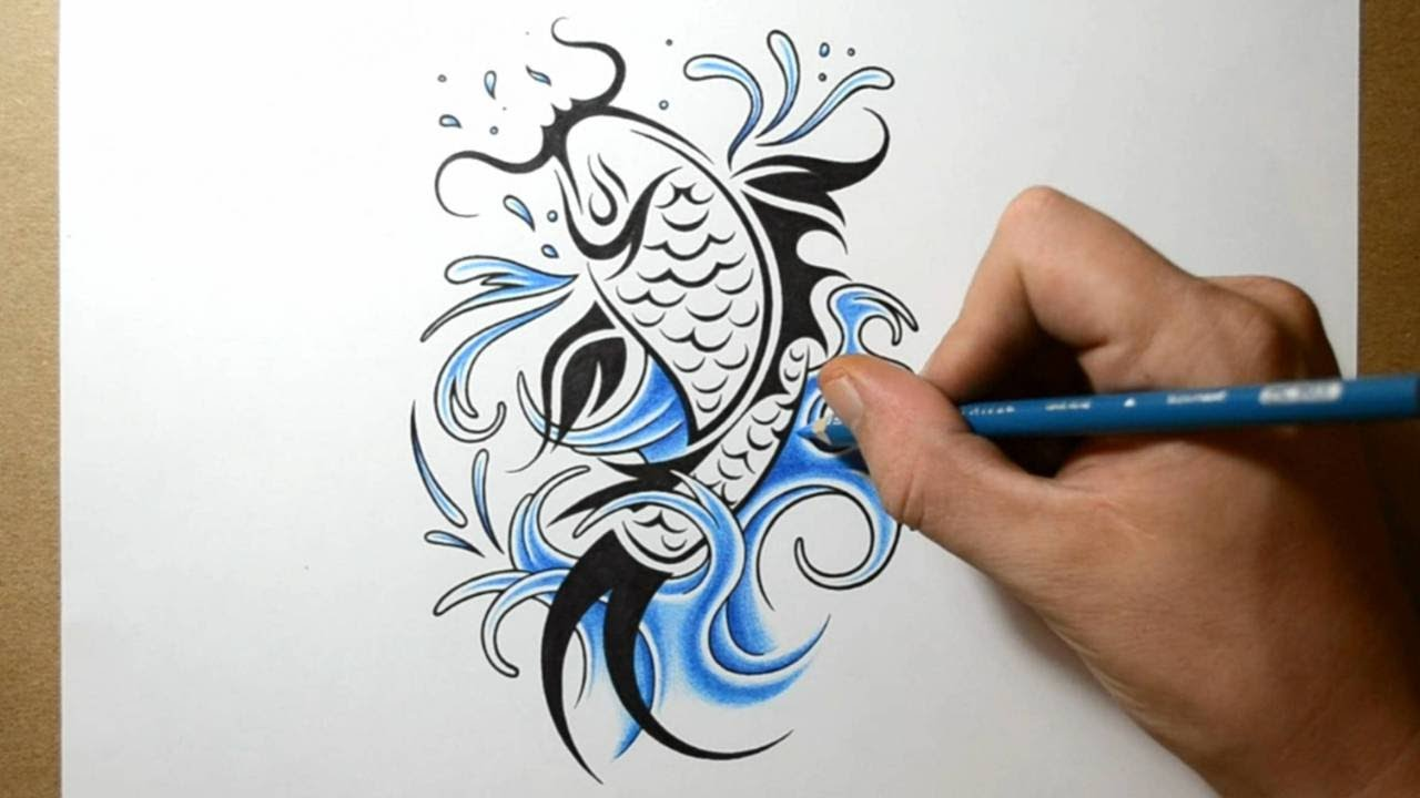 How to Draw Koi Fish Tattoo