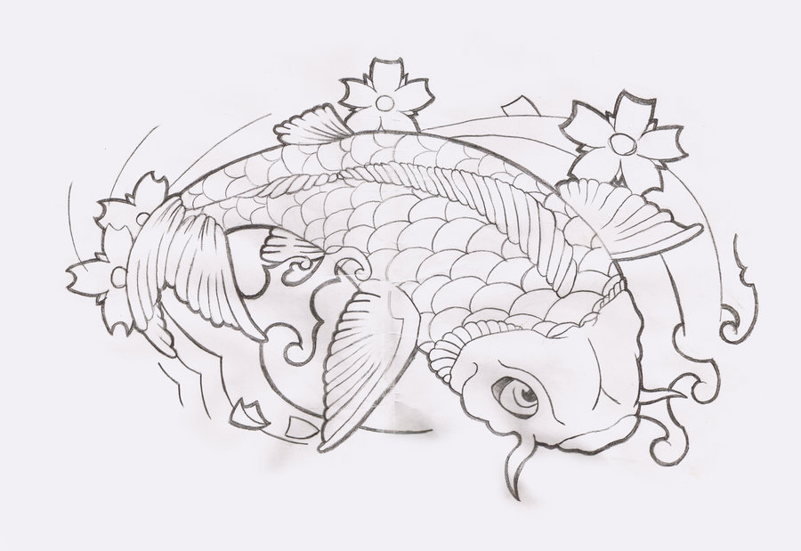 Koi Fish Tattoo Designs Drawings