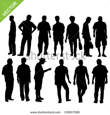 18 Vector Silhouette Man Open Collar Images