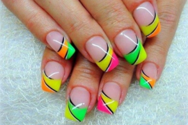 12 Bright Nail Art Designs Images - Neon Color Nail Design, Neon ...