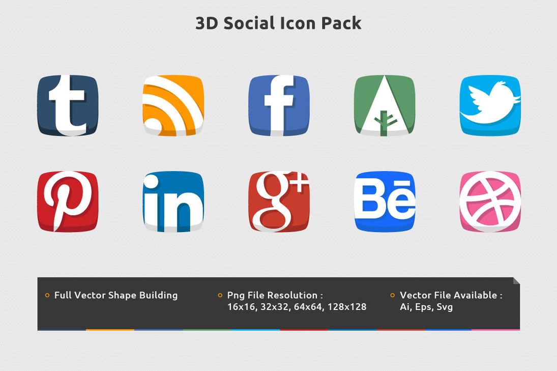 10 3D Icon Pack Images - Free 3D Desktop Icons, 3D Social