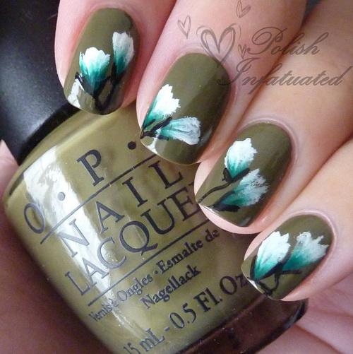One Stroke Flower Nail Art Design