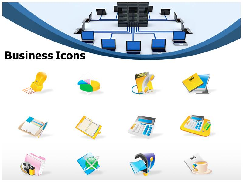 PowerPoint Network Icons Topology