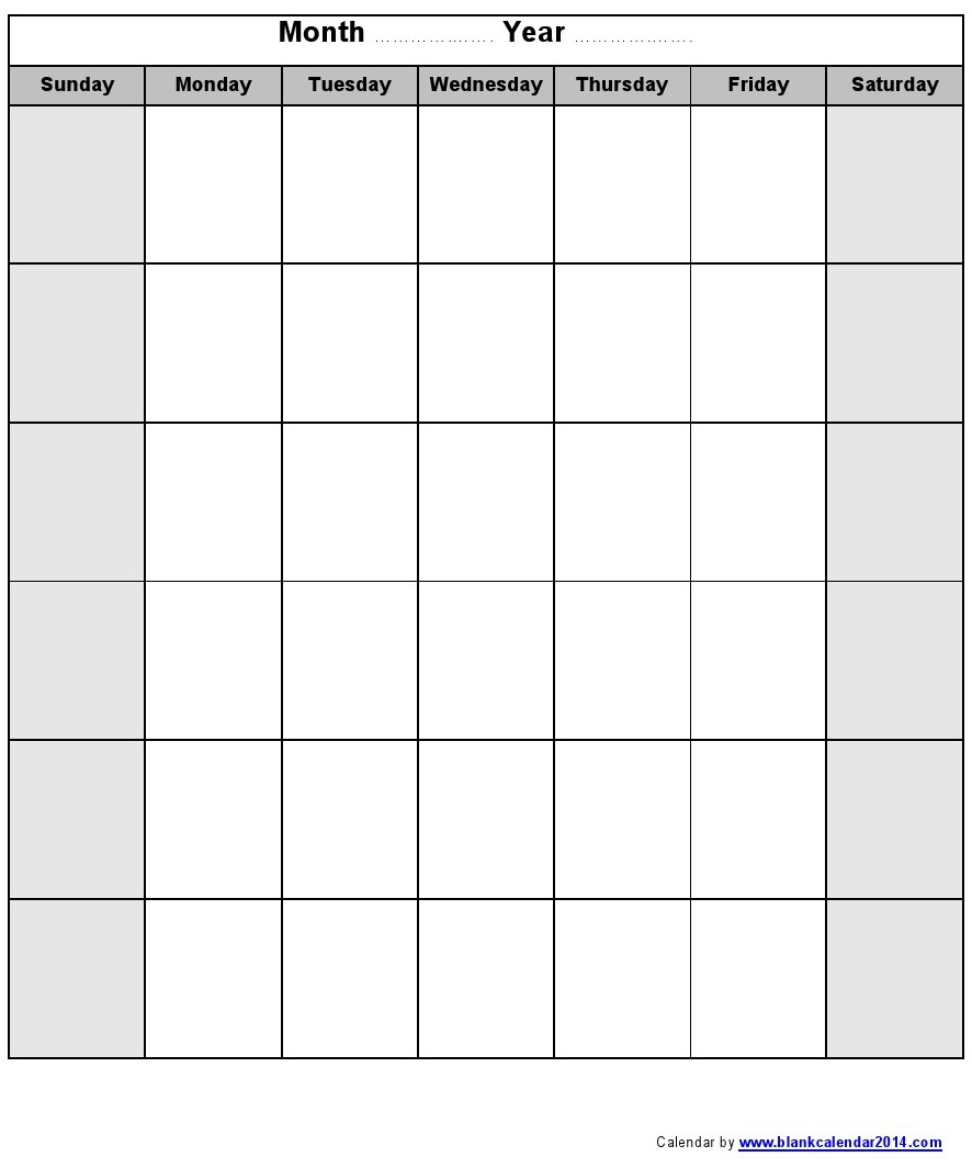 Printable Blank Monthly Calendar Template 2016