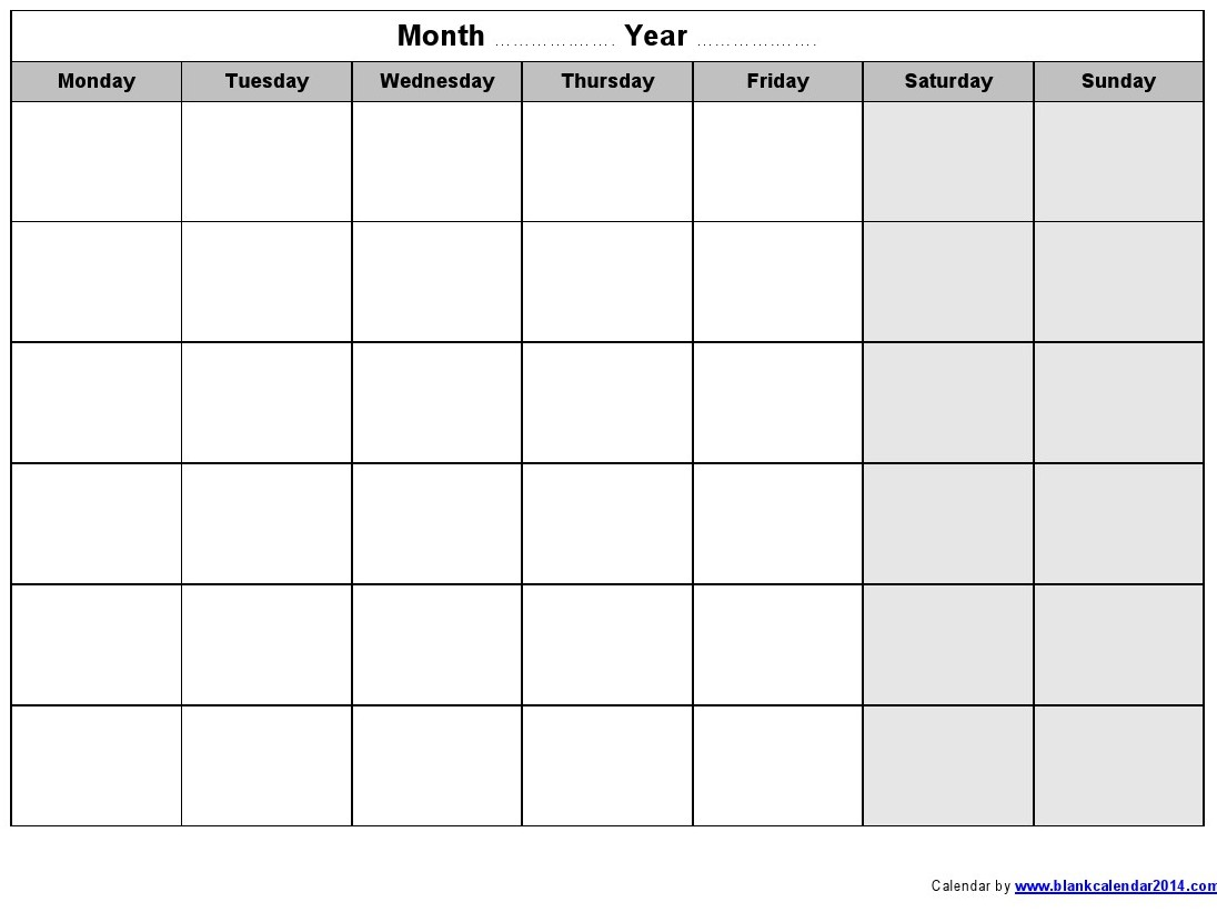 Printable Blank Monthly Calendar Templates Monday