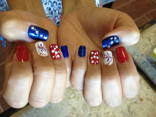 15 Firework Red White Blue Silver Toe Nail Design Images Red White