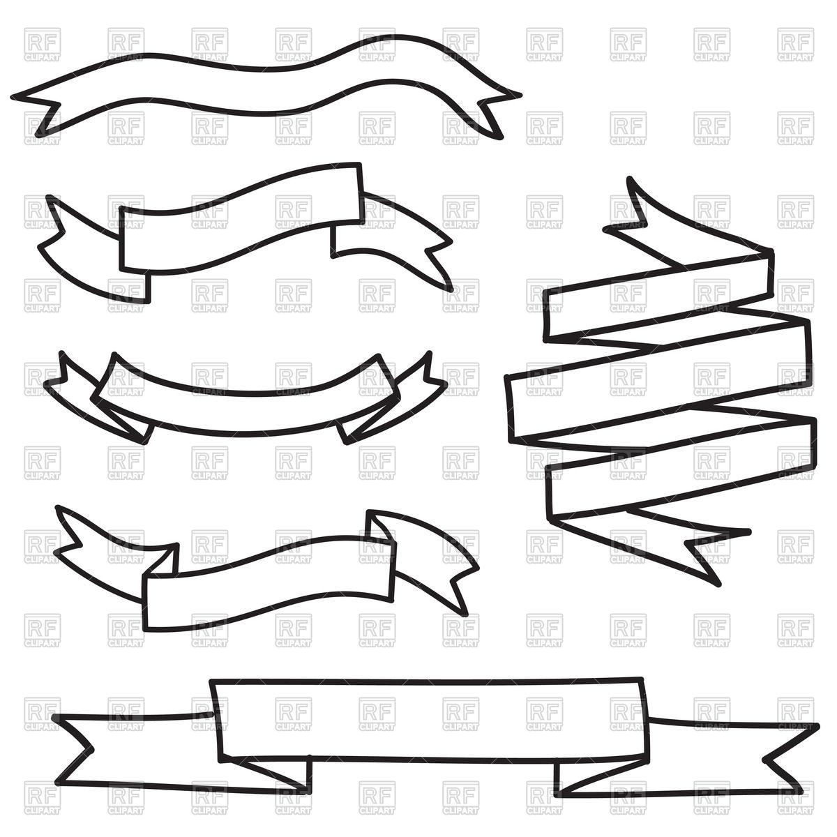 Ribbon Banner Outline Vector