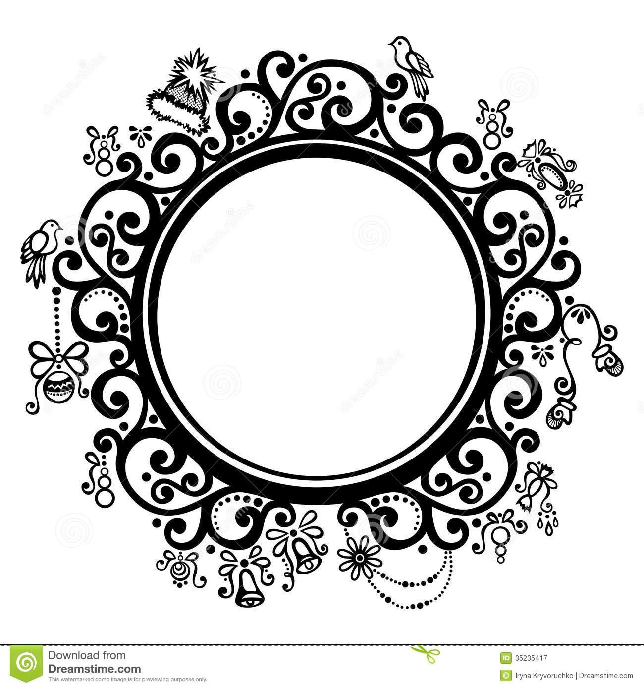 7 round decorative frame vector images floral decorative