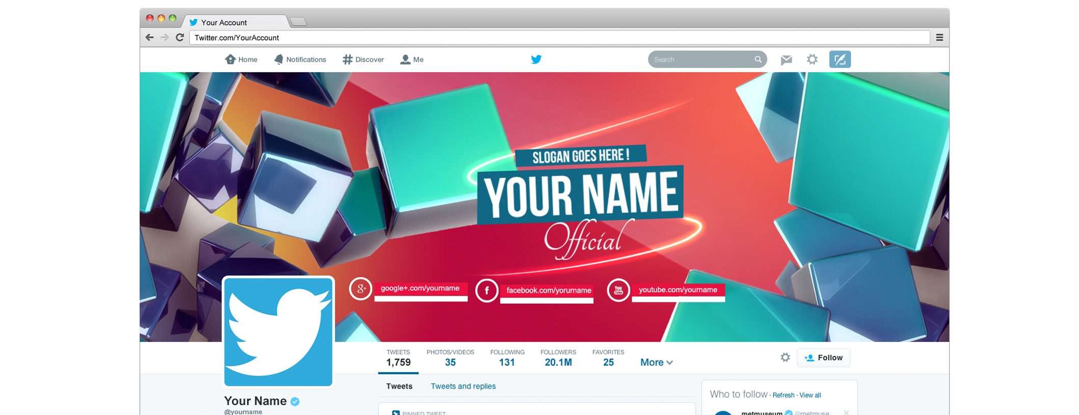 14 Twitter Cover Template PSD Images - Twitter Header Template 2014
